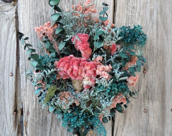 Dried Flower Bouquet Floral Flower Arrangement Cocks Comb Pink Eucalyptus Meadow Flowers Pastel Pink Broom Bloom Dyed Dark Blue Limonium