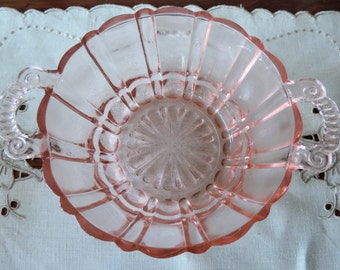 Pink Depression Glass Bowl with Handles Antique Anchor Hocking Cafe Pink Collectible