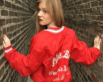 FREE SHIPPING!: Vintage 1990's Red Sports Half Button-Up With Sports Logo