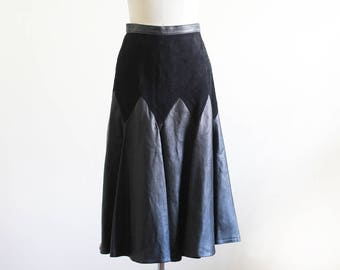 "Vintage 80's High Waisted Leather and Suede Midi Skirt / Small / 27"" Waist"