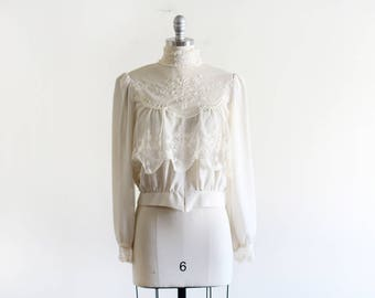 Vintage Sheer Lace Victorian Style Blouse By Sue Wong / Sheer Blouse / Boho Romantic / 80's does Victorian
