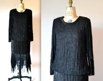 15% OFF SALE Vintage Black Sequin Dress Flapper Inspired Silk Size Medium// 80s does 20s Vintage Flapper Dress Size Medium Black Beaded Dres