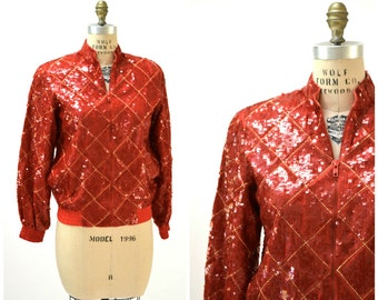 Vintage Red Sequin Jacket Size Small Medium Red Argyle Plaid by Modi// Red Metallic Sequin Bomber Jacket J10