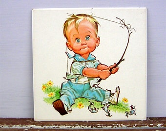Little Boy Learning to Fish Vintage Nursery Decor Art Print by Pete Hawley Peter Hawley