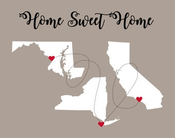 New Home Housewarming Gift, First Home Gift for Housewarming Art Print, Home Sweet Home Sign, Long Distance, Moving Away Gift, Wedding Gift