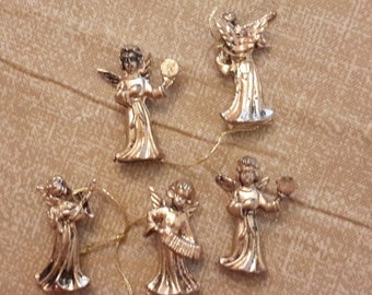 "5 TINY MINI ANGELS gold vintage decoration supply 1 1/4"" miniatures"