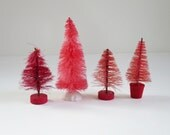 Set of 4 Miniature Pink Bottle Brush Sisal Trees, Vintage Pink Hand Dyed Sisal Trees, Mini Pink Putz House Decor