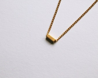 "the dash -necklace (dash rectangle tube geometric charm on a 16"" gold plated chain)"