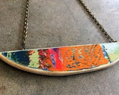 Hand made wood necklace multicolored and bright