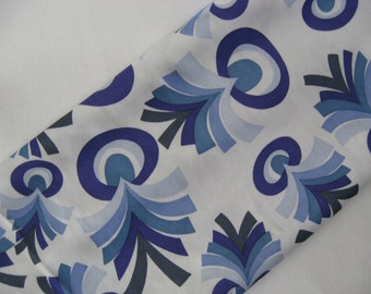 Incredible smooth mod feather graphic vintage poly nylon fabric blues on white wide