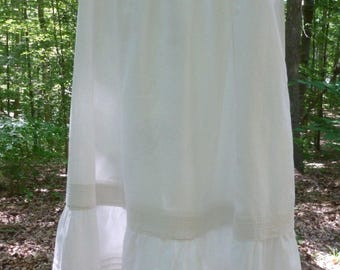 Victorian Cotton Petticoat with Ruffle Tucking - White - Handmade - Length can be adjusted - NC