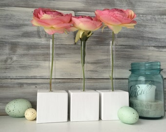 Test Tube Flower Vases, bud vases, set of three, white, wood blocks