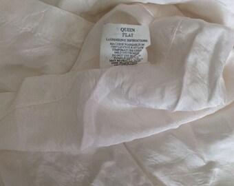 Nights in White satin! sheet queen flat scentsation label white satin vtg silky soft acetate