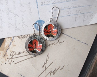 Red Leaves Vintage Tin Earrings, Disc Earrings, Light Weight Earrings, Sterling Ear Wires