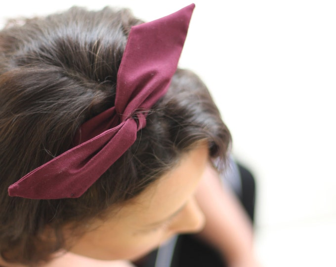 Headband Burgundy Dolly Bow Wire Headbands Wine Flexible Bendable 40s 50s Rockabilly Pin up Hair Accessory Teen Women