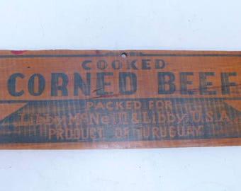 Antique Wood Corned Beef Lid - Wood Corned Beef Sign - Wood Food Label - Food Label - Wood Advertising Sign