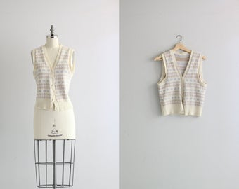 Vintage Womens Sweater Vest . 1970s 70s Pastel Knit Sweater Vest