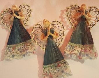 Abaca Angel Ornaments - Set of 3