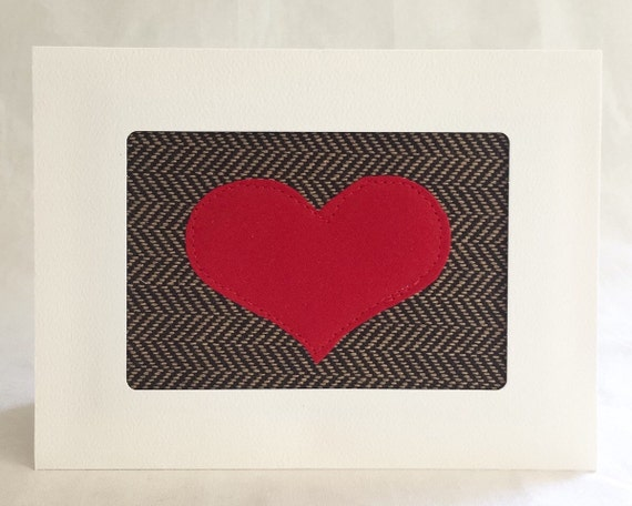 Anniversary Card - Handmade Greeting Card - Love Card - Wedding Card - Fabric Card - Heart Card - Masculine - Herringbone