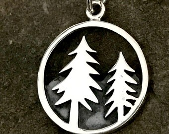 NEW Sterling Silver Pinetree Charm -  Round Natural Mountain with 2 Pine Trees Pendant C201
