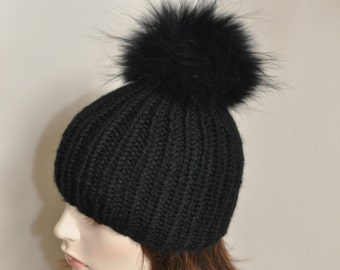 Black PomPom Beanie 100% CASHMERE Chunky Knit Beanie Hat Fur pompom Ribbed Beanie Black Hat Double Bobbles Black hat Christmas Gift