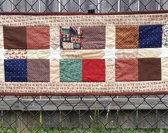 Quilted Table Runner, Dresser Topper or Mat, Wall Hanging,  Primitive Style Home Decor