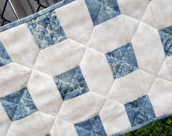 Quilted Table Runner or Table Topper Cream Color Based with Soft Blues and Green Patchwork