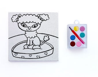 Poodle Canvas Paint Set - Art Party Favors