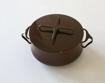 Vintage Dansk Enamel Pot, Kobenstyle, Brown