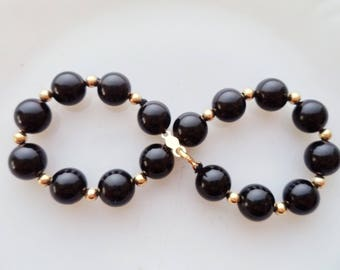 Onyx 14K Bead Clasp Bracelet 7mm Black Gem Beads Signed 14K 7 Inches Long
