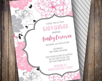 Floral Baby Shower Invitation, Floral Baby Shower Invite, Printable Baby Shower Invitation - Modern Bold Blooms in Pink, Gray, Black