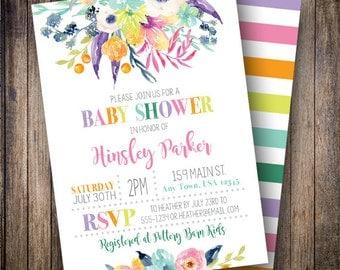 Watercolor Floral Baby Shower Invitation, Floral Baby Shower Invite, Printable Baby Shower Invite - Watercolor Flowers in Purple, Pink, Aqua