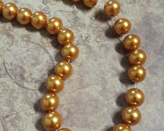 Gold Beads Gold Pearl Beads Glass Pearls 10mm Glass Beads 10mm Glass Pearls Gold Pearls Large Beads Gold Beads 85 pieces