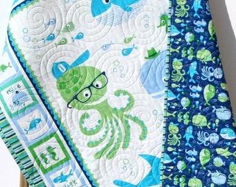 Baby Blanket Quilt, Nursery Crib Bedding Quilt, Boy Gender Neutral Whale Ocean Sea Nautical Shark Fish