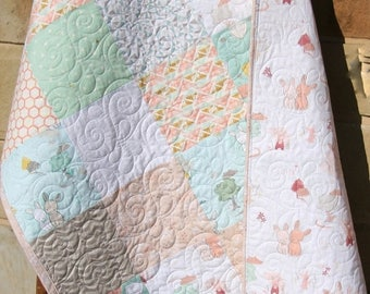 Baby Quilt, The Littlest, Reversible, Bunnies, Apricot, Coral, Mint Green, Pastels, Toddler Blanket, Baby Bedding, Crib Bedding, Shabby Chic