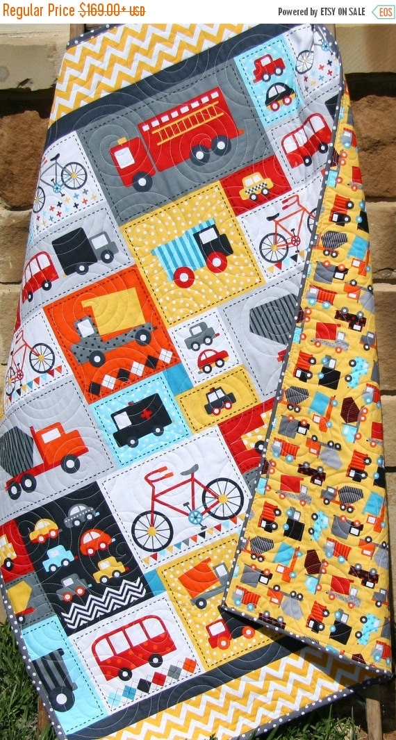 Baby Boy Quilt Toddler Bedding Car Vehicles by SunnysideDesigns2