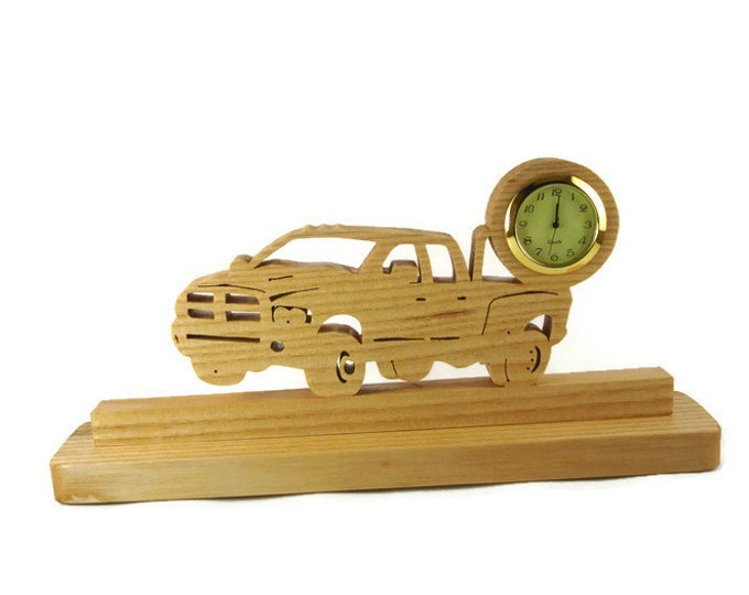 Dually Dodge Truck Desk Or Shelf Clock Handmade From Ash Wood By KevsKrafts