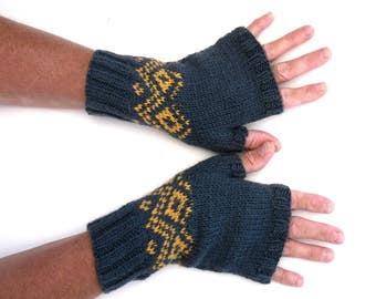 Blue Fairisle handwarmers / fingerless gloves hand knitted in 100% wool yarn , large size