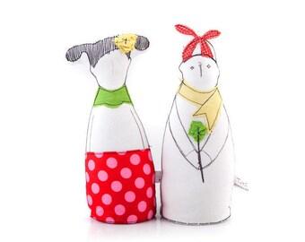 Handmade fabric dolls , dolls set , Selfie Couple , Soft sculpture , handmade dolls pair , Textile art doll , soft figurine , fabric doll ,