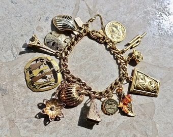 Recycled Gold Monet 13 Charm Bracelet, Jennifer Jones OOAK, Vintage Piano Beach Shell Paris Leaf Crown Cactus Eiffel Tower Flower Rhinestone