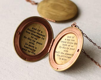 Personalized Message Locket ... Engagement Proposal Birthday Quotation Lyrics Necklace Pendant Gift