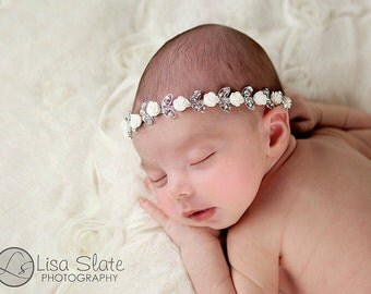 Rose crown headband Newborn Headbands Baby Headband adult headband Baby Hairbow photo prop baptism headband  - headband baby - Baby