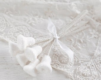 Sugar Bell Picks - Spun Cotton Retro Craft Stems with Glass Glitter - 6 Bell Embellishments
