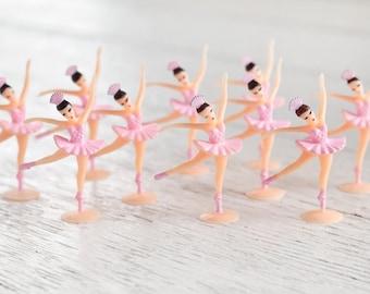 Miniature Ballerina Figures - 10 Tiny Pink Ballet Dancer Craft Figurines