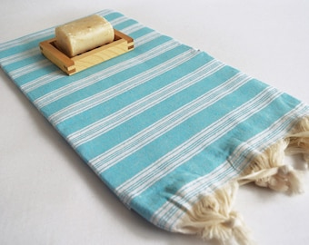 SALE 70 OFF/ Turkish Beach Bath Towel Peshtemal / Blue No1 / Wedding Gift, Spa, Swim, Pool Towels and Pareo
