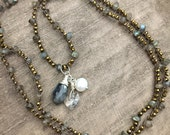 Long Crocheted Labradorite Necklace Boho - Free Shipping