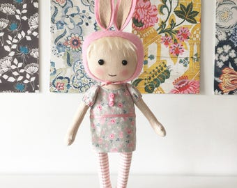 cloth doll, bunny doll, spring doll, floral art doll, gifts for her, unique gifts