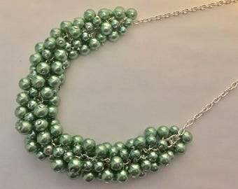 Sage Green Pearl Silver Statement Necklace
