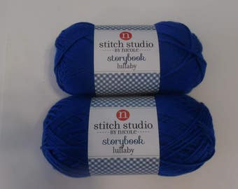 yarn, stitch studio by nicole, storybook lullaby, crochet supplies, knitting supplies, blue yarn