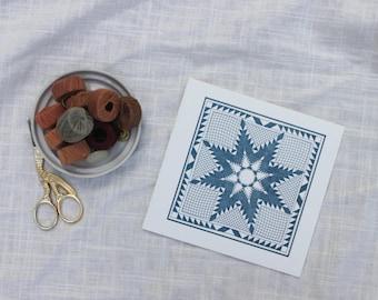 Blue Star Quilt Letterpress Card